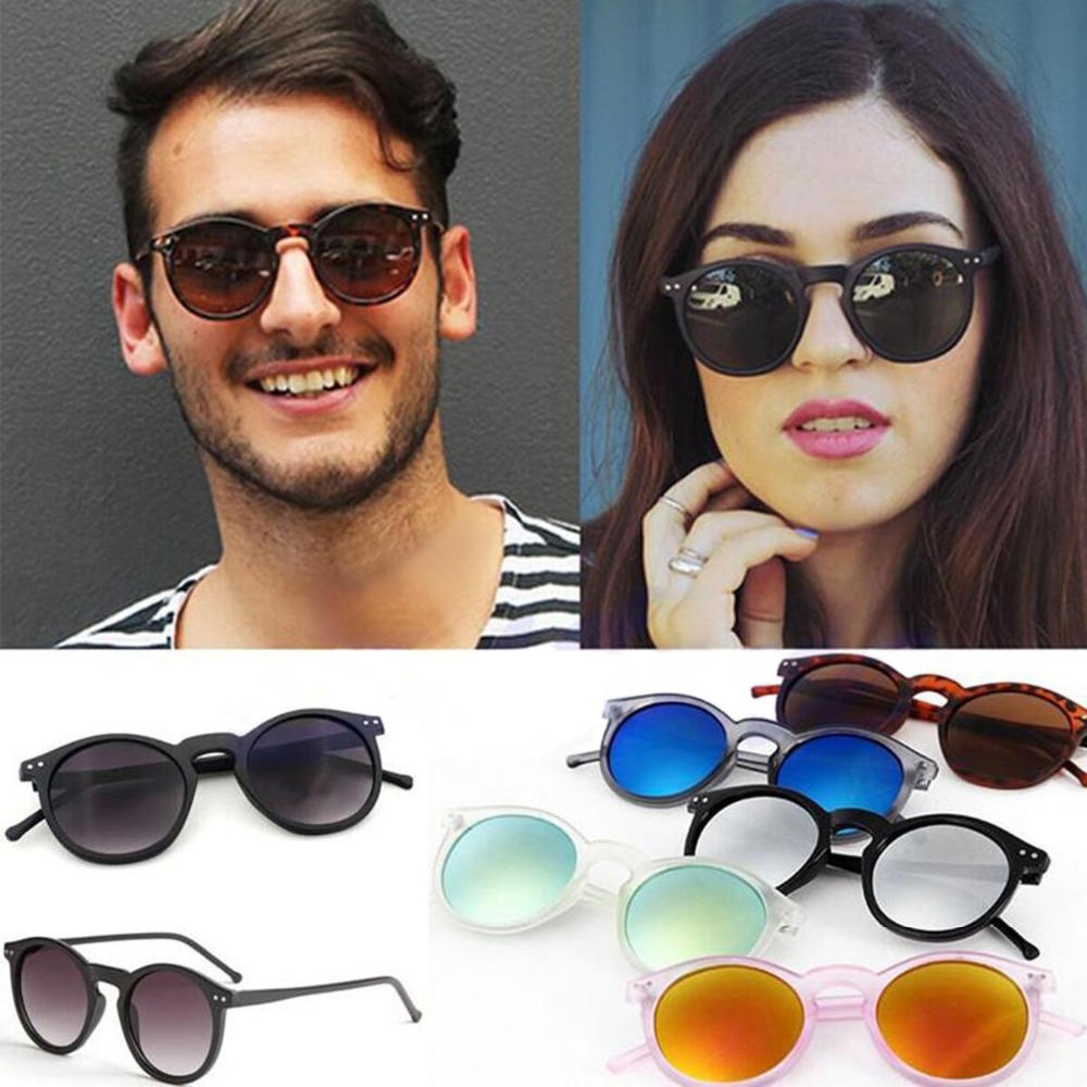 Vintage Round Sunglasses Lightweight Colorful Frame Sun Glasses Eyewear with UV400 Protection