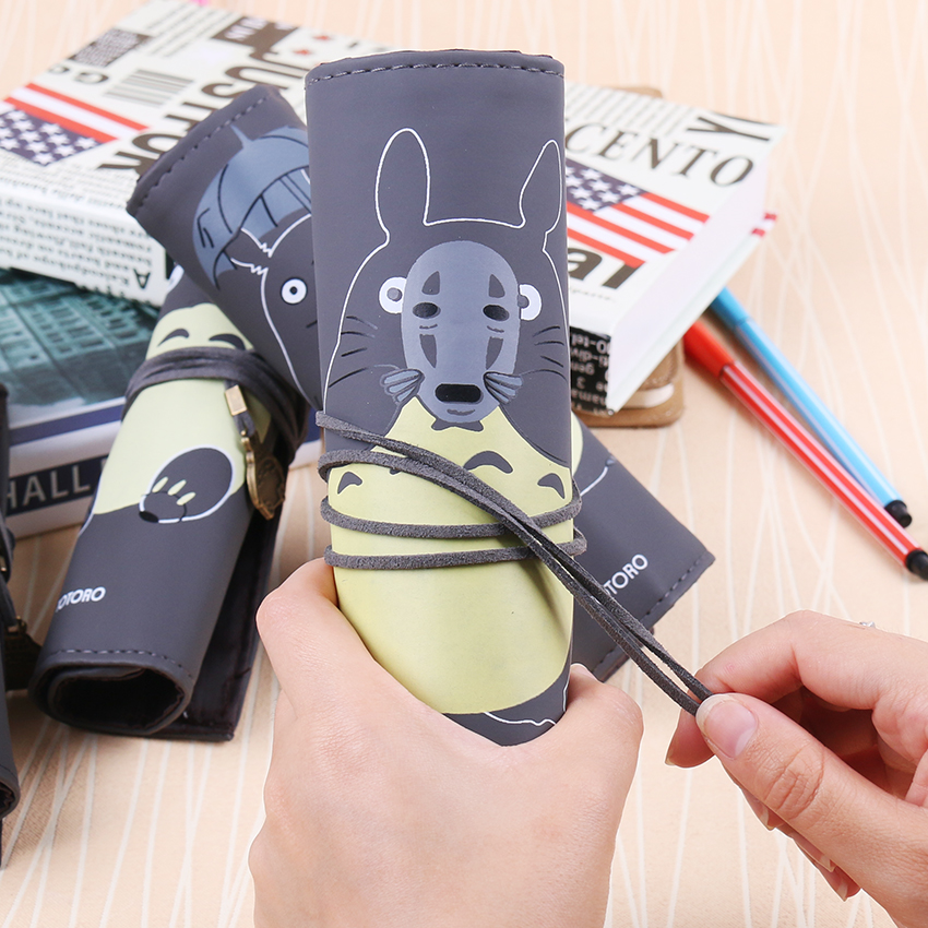 1PC Hot Selling Cute My Neighbor Totoro Pu Leather Roll Pencil Bags Stationery Storage Bag Gift School Office Supplies