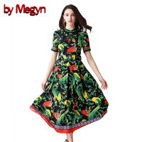 על ידי megyn מעצב 2018 נשים באיכות גבוהה מסלול שמלות הדפסת שחור לבן שרוול קצר אבנט שמלת טוניקת שמלות ערב אלגנטיות