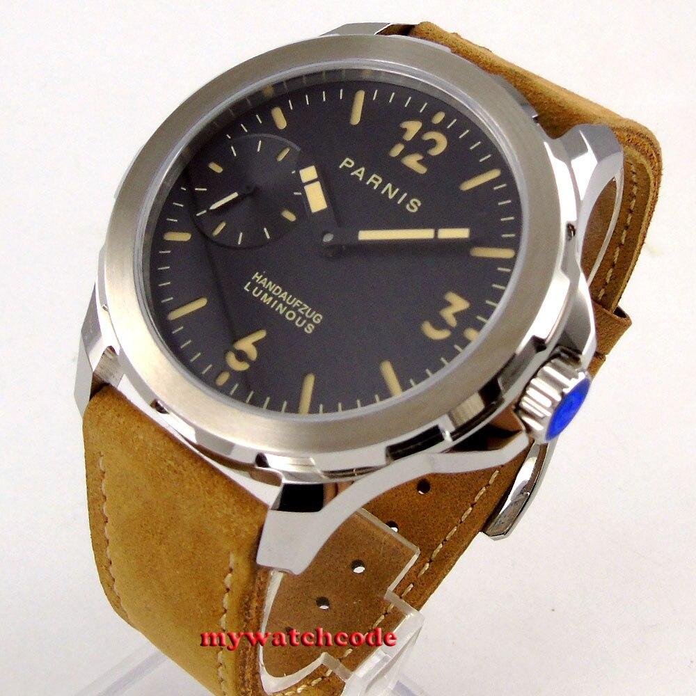 лучшая цена 44mm parnis black dial orange mark Sapphire glass 6497 hand Winding mens watch