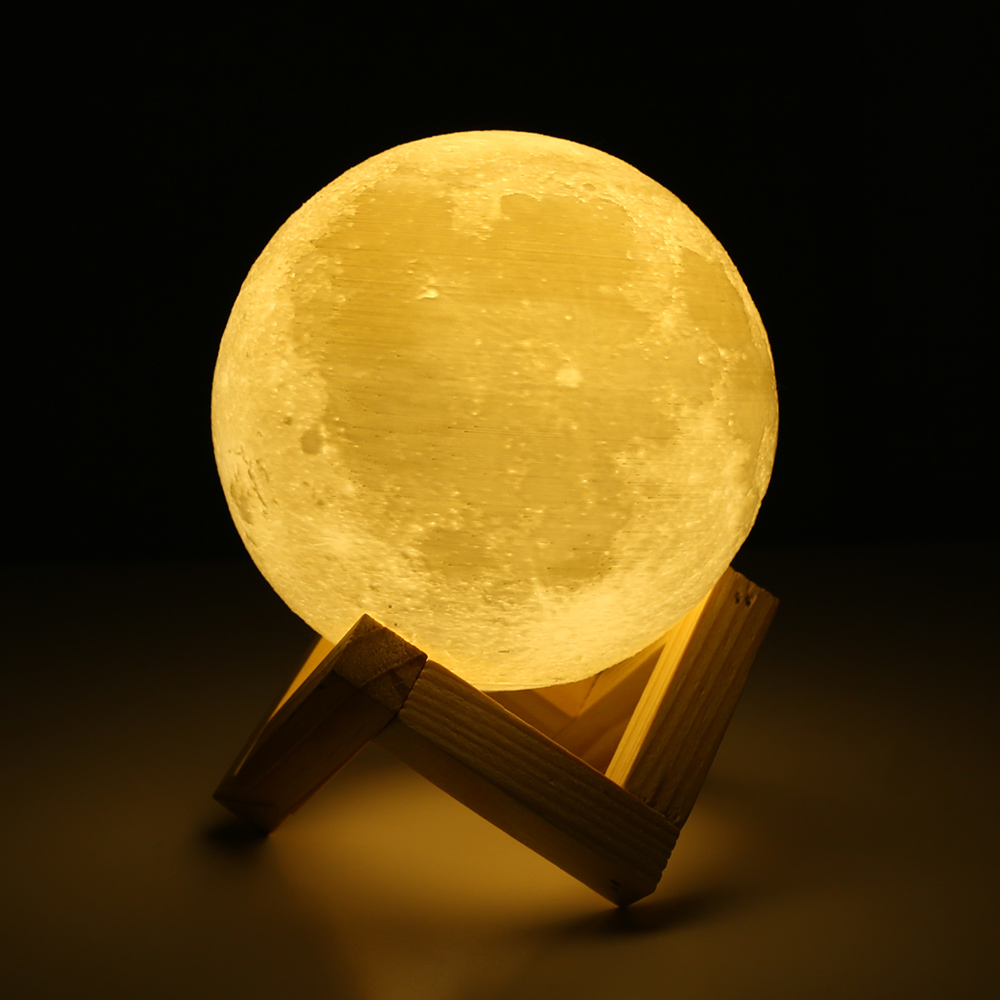Rechargeable 3D Print Moon Lamp 2 Color Change Touch Switch Bedroom Bookcase Night Light Home Decor