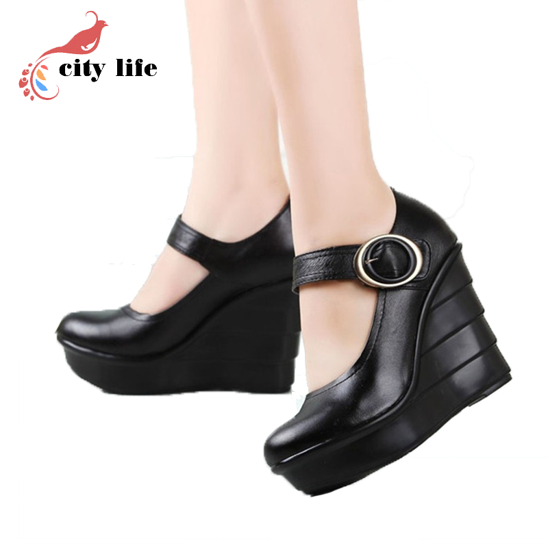 12CM Cowhide Platform Shoes 2016 Buckle Wedges Sandals For Women Black Casual Summer Shoes High Heels Female Pumps OL Sandalias