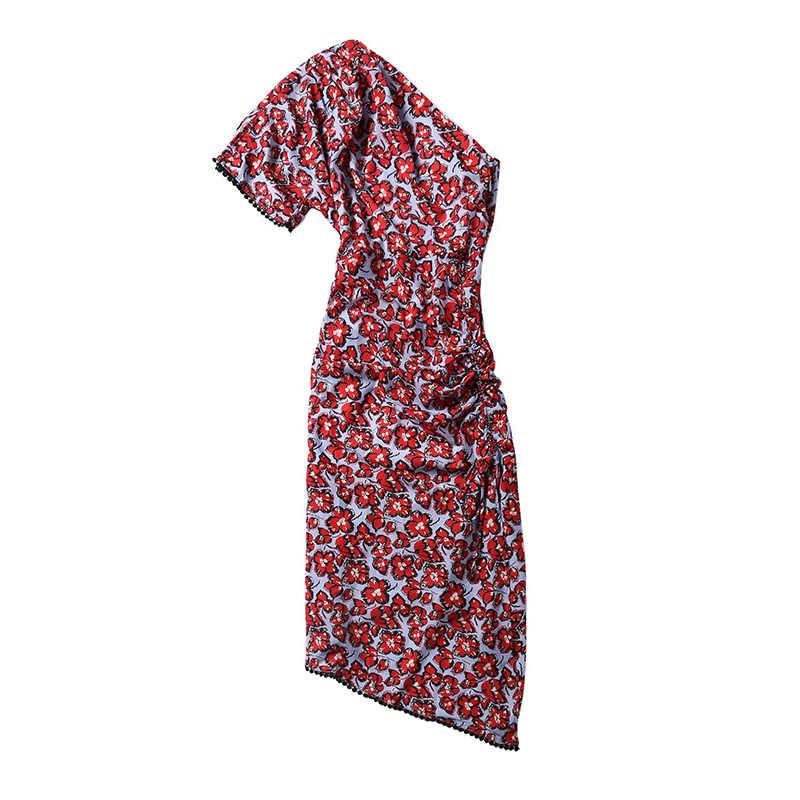 Truevoker европейские дизайнерские Сексуальные вечерние Клубные платья женские высокие уличные на одно плечо винтажные с цветочным принтом драпированные Vestidoes