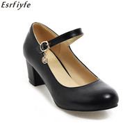 ESRFIYFE New Pumps Womens Sweet Elegant Mary Janes Womens Square High Heels Pumps Lolita Ankle Buckle Strap Shoes New 6 Colors