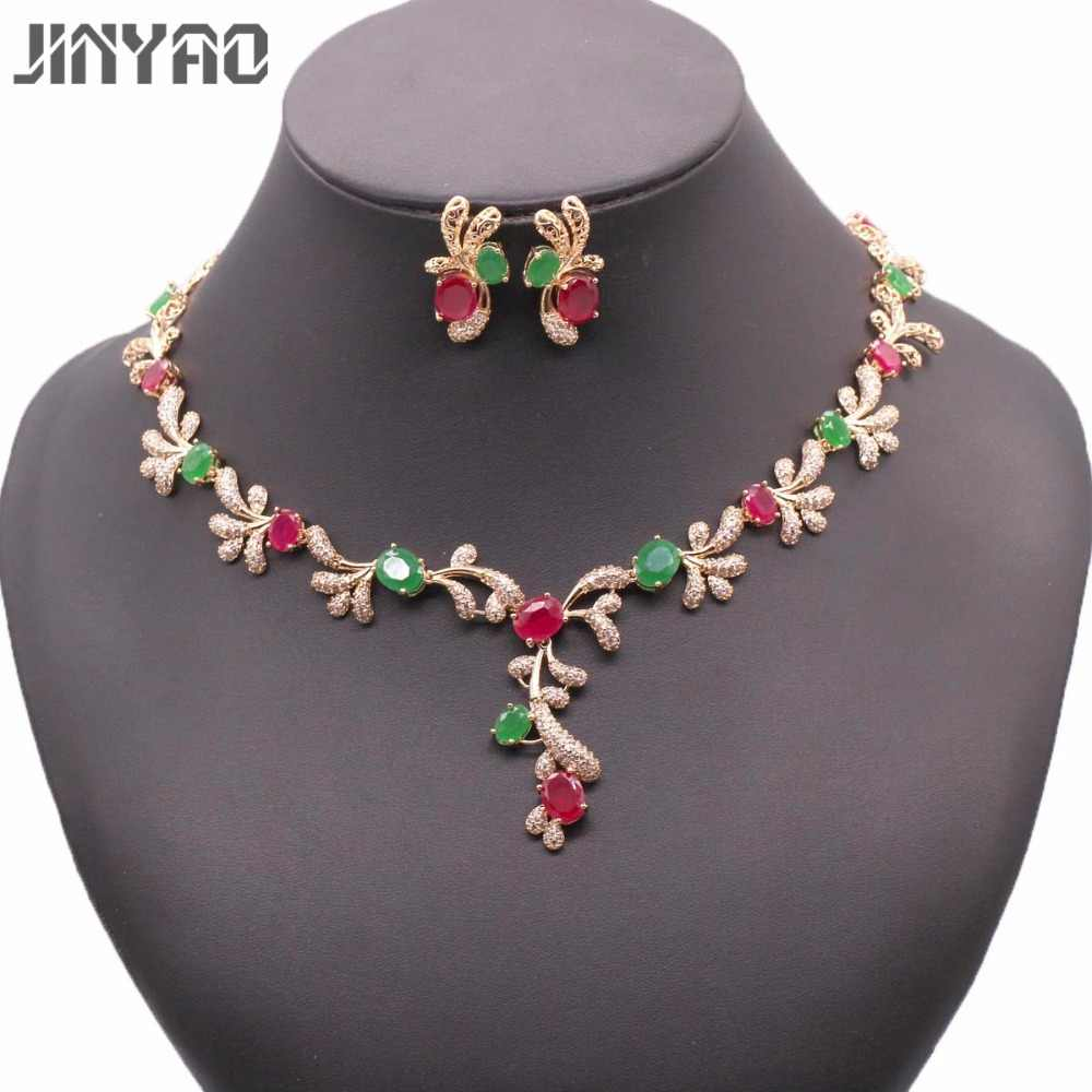 JINYAO Luxury Green&red Stone AAA Zircon Gold Color Necklace Earrings Set For Women Wedding Accessories Jewelry