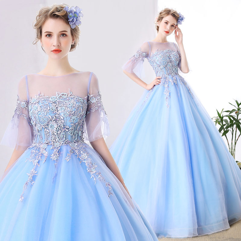 Medieval Renaissance Light Blue And White Gown Dress: 100%real Light Blue 18th Century Vintage Medieval Dress