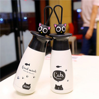Cute Cat Stainless Steel Vacuum Cup Couple Thermos Mug Drinkware Portable Student Thermal Bottle Tumbler Thermocup