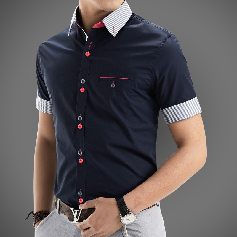 2016 new brand mens dress shirts short sleeve casual shirt