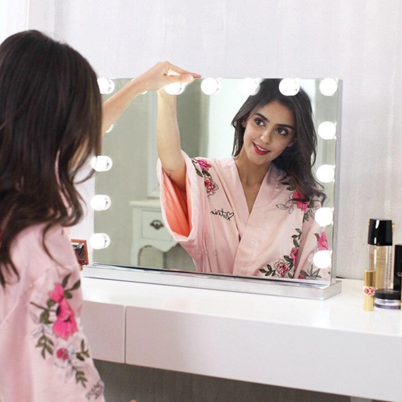 Голливудское бескаркасное туалетное зеркало со светом для макияжа освещенное туалетное освещение 3 вида цветов легкое косметическое зерка