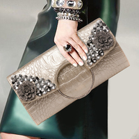 Fashion Women Luxury Diamond Clutch Purse Genuine Leather Split Leather Banquet Bag Modern Shoulder Bags Messenger Crossbody