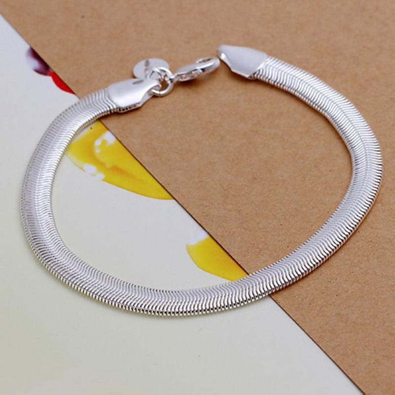 Gratis verzending groothandel zilveren armband, 925 mode verzilverde sieraden platte slang slang armband / JDJXDRFR PULAPBPS