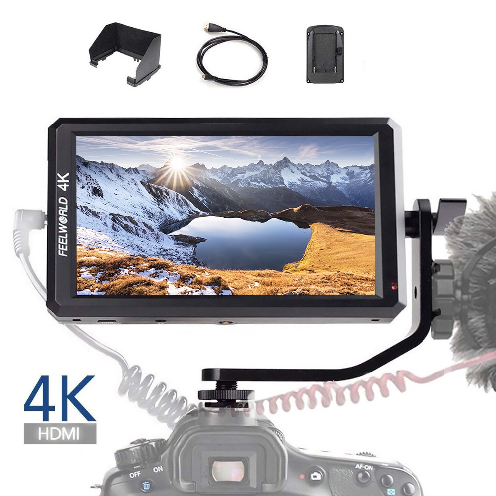 Feelworld F6 5.7 polegada Full HD 1920x1080 IPS DSLR HDMI Campo Monitor de Vídeo com Braço de Inclinação Power out para Handheld Cardan Estabilizador