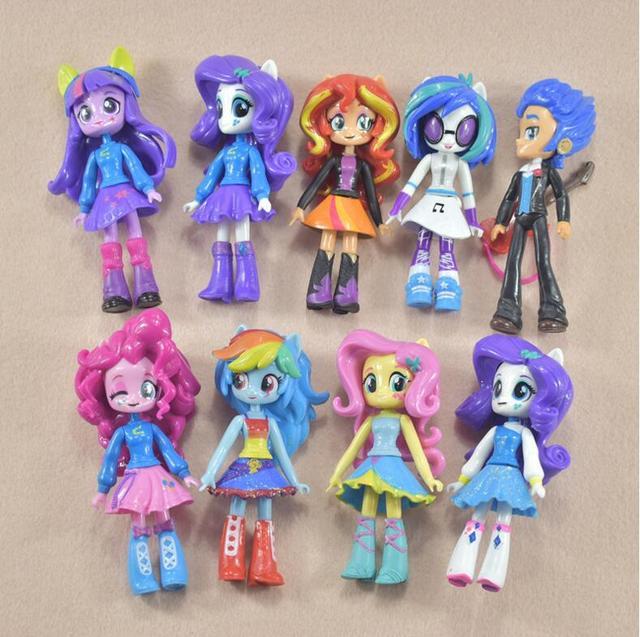 9 шт./лот 12 см немного Девушки Куклы аниме мультфильм действие рис набор детей игрушки для девочек