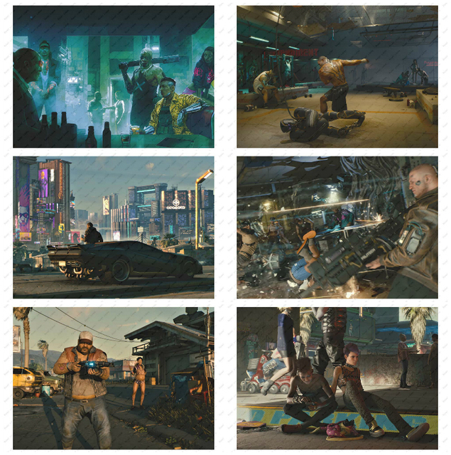 cyberpunk 2077 Game Poster Decorative paintings  Wall stickers White Kraft Poster