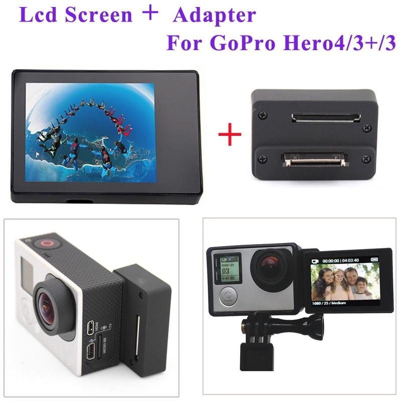GoPro Hero 4 3+ 3 셀프 타이머 커넥터 어댑터 박스 + BacPac 디스플레이 LCD 화면 GoPro 카메라 액세서리