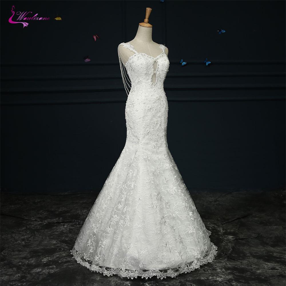 Waulizane Lustrous Lace Sweetheart Mermaid Wedding Dresses Beading Crystals Pearls Sleeveless Backless Elegant Bridal Gowns