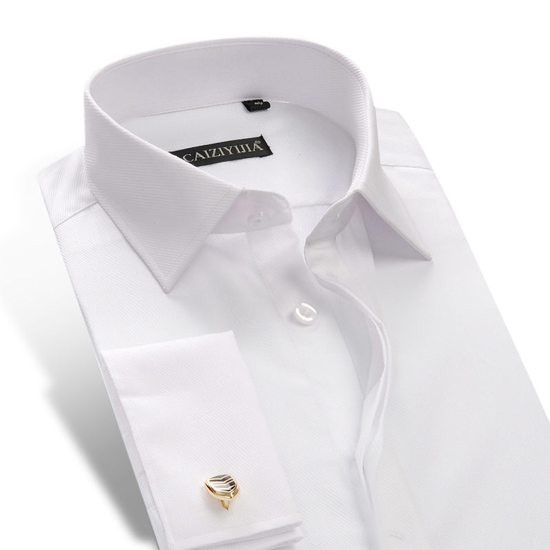 Men's Hidden Buttons French Cuff Dress Shirt Comfortable Twill Solid Formal Long-Sleeve Standard-fit Shirts (Cufflinks Included)
