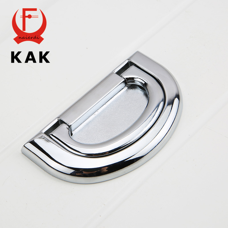 KAK 64MM Zinc Alloy Handles Hidden Cupboard Wardrobe Door Handles Drawer Pulls Cabinet Knobs With Screw Furniture Hardware