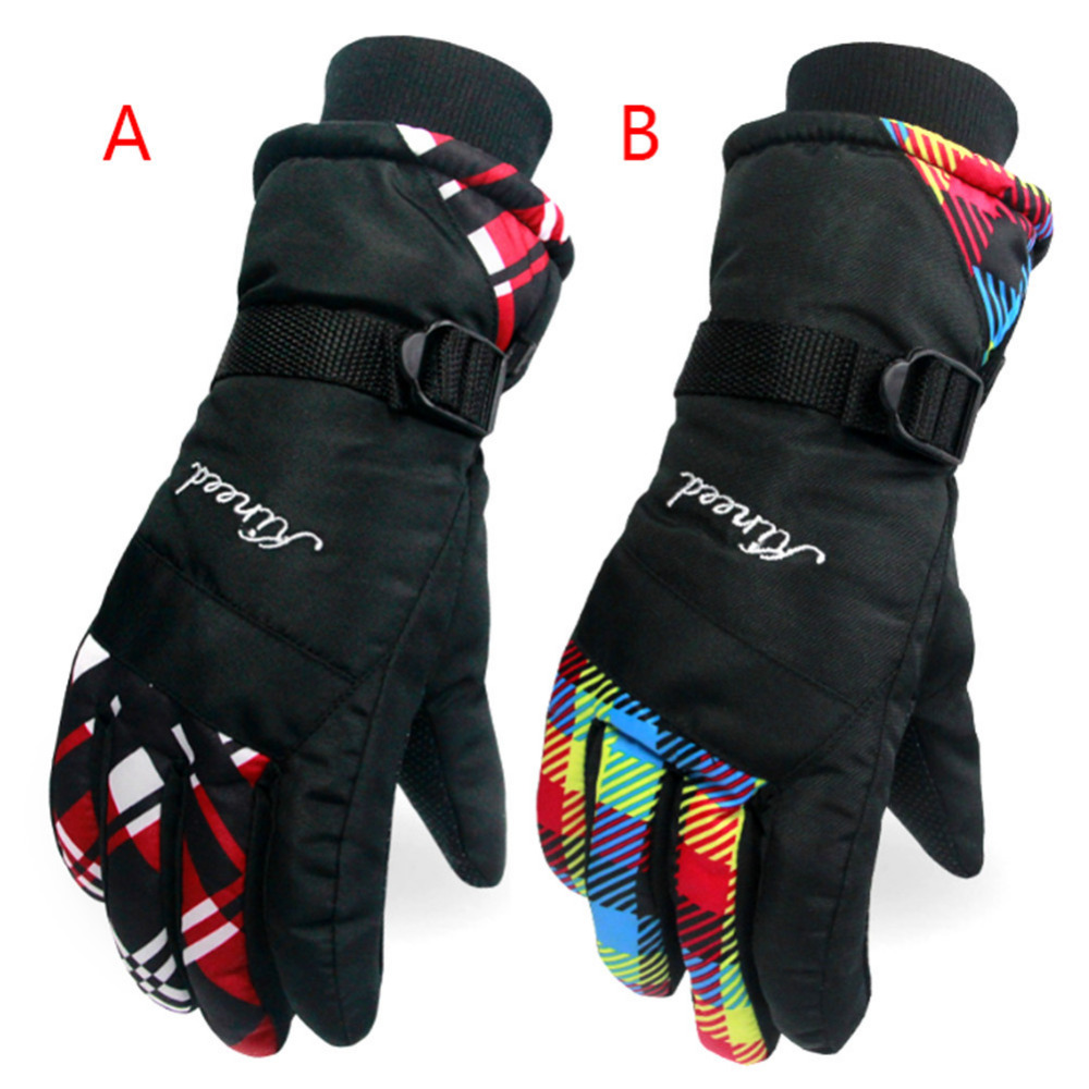 Winter Full Finger Skiing Gloves Shockproof Waterproof Anti- wind Riding Skiing Gloves Keeping Warm Non-Slip Girls Women