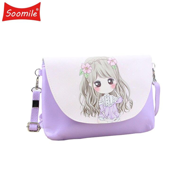Soomile новый мультфильм печати девушки Crossbody сумка из искусственной кожи милые Курьерские сумки детские мини Сумки Для женщин кошелек женский плеча