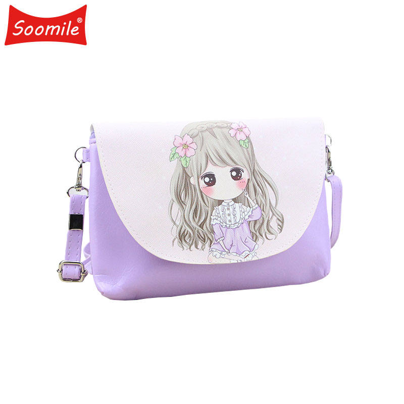 Soomile New Cartoon Print Girls Crossbody Bag PU Leather Cute Messenger Bags Children Mini Handbags Women Purse Female Shoulder