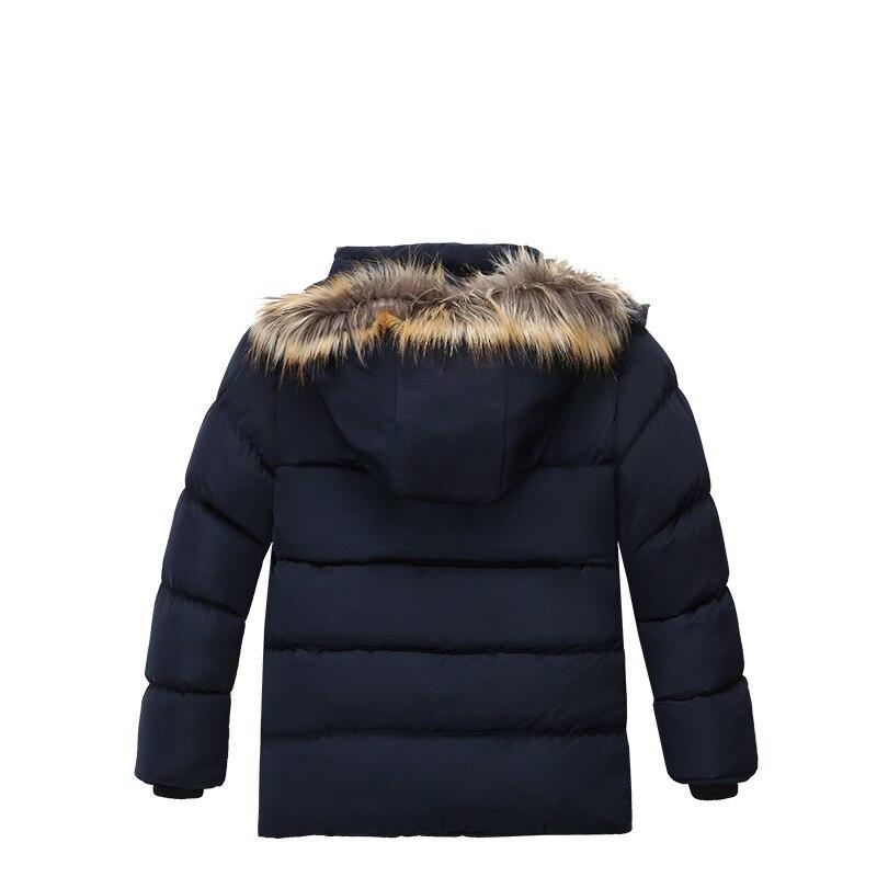 Image 2 - Winter Warm Thickening Fur Collar Long Child Coat Children Outerwear Windproof Fleece Liner Baby Boys Jackets For 100 120cmDown & Parkas   -