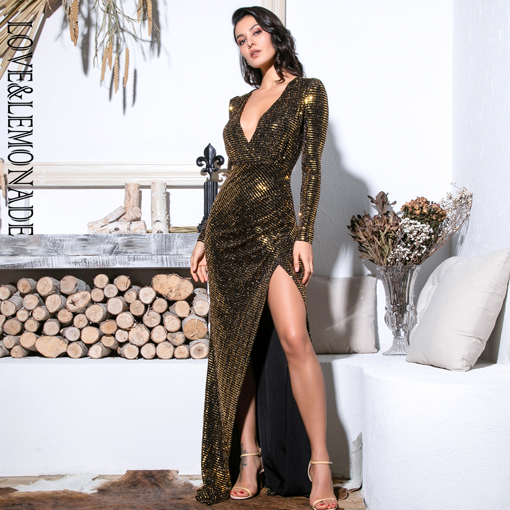 Love Lemonade Sexy Gold Deep V Neck Cut Out Puff Sleeves Glitter Sequins Elastic Material Maxi