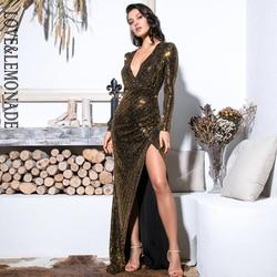 Liefde & Limonade Sexy Gold V-hals Uitsnede Bladerdeeg Mouwen Glitter Pailletten Elastische Materiaal Maxi Jurk LM81715 Herfst/ winter