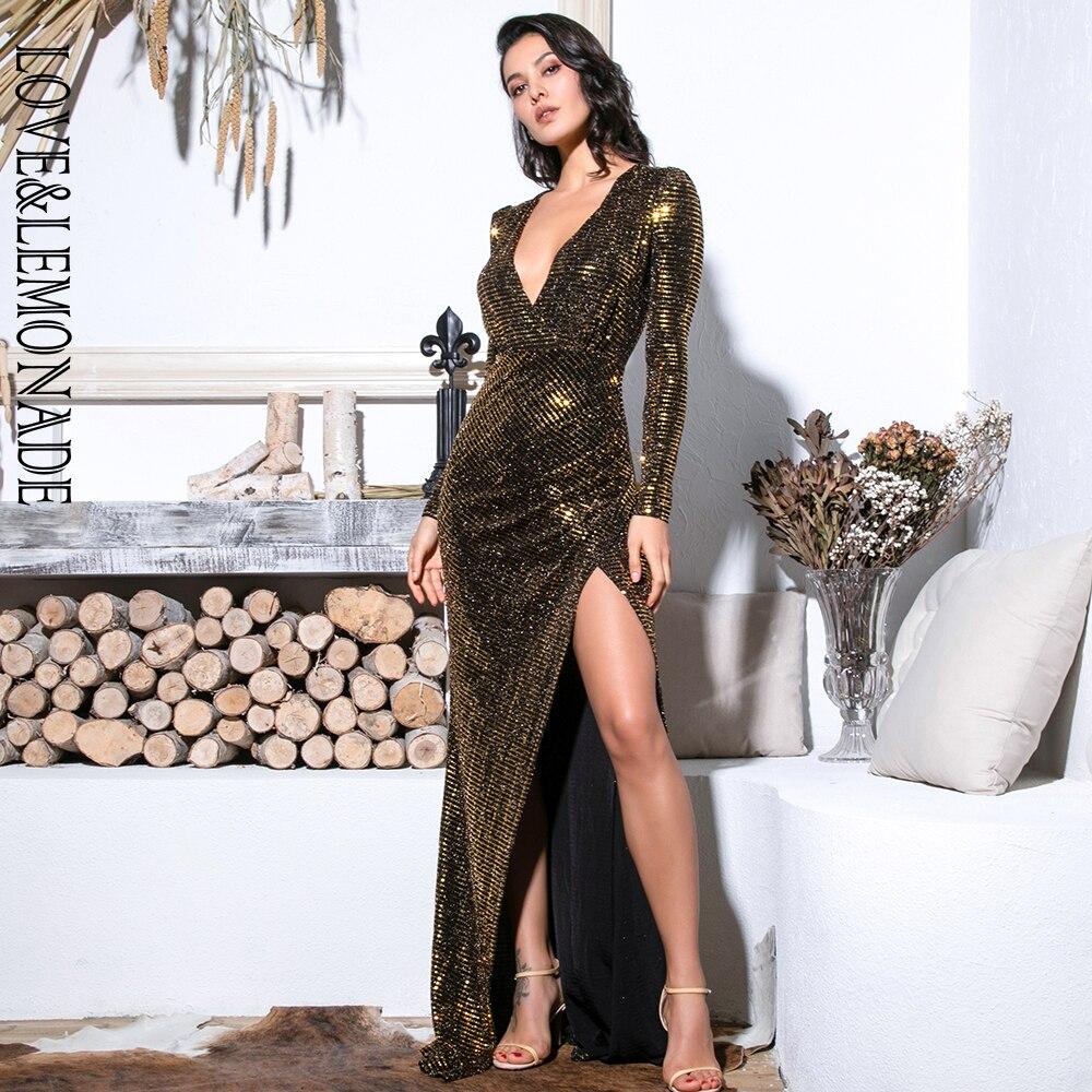Love&Lemonade Sexy Gold Deep V-Neck Cut Out Puff Sleeves Glitter Sequins Elastic Material Maxi Dress LM81715 Autumn/Winter