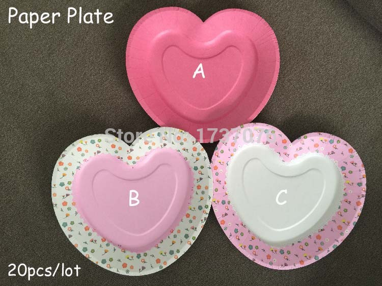 30pcs Heart Pink Cake Disposable Paper Plate For Wedding Fruit Dish Plates Event u0026 Party Supplies 7inch-in Disposable Party Tableware from Home u0026 Garden on ... : pink disposable plates - pezcame.com
