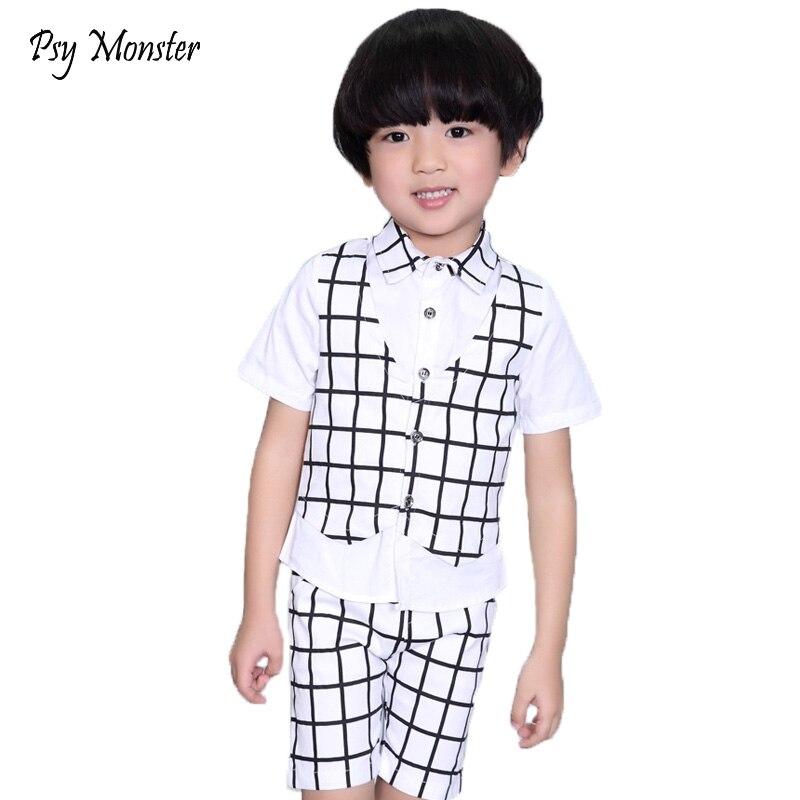 2018 kids sets for Boys Clothing Set Fake Vest Shirt + Pants 2pcs Kids Gentleman Prince Wedding Dress Clothes Children Costumes