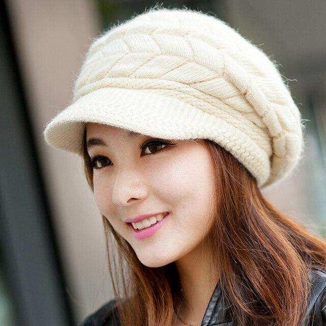 Musim Dingin Rajutan Topi untuk Gadis Lebih Tebal Lembut Kelinci Fur Baret  Topi Wanita Solid Elegan b3756f29e8