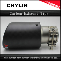 1 Piece Inlet 60mm Outlet 89mm Carbon Fiber Stainless Steel Car Exhaust Pipe Tip Tailtip Akrapovic