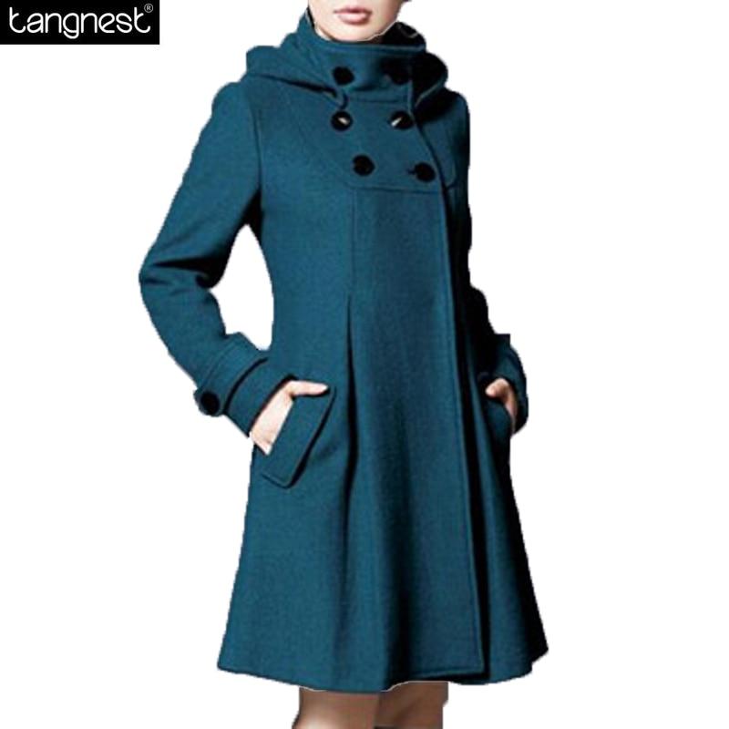 100d12db06b TANGNEST Women Classic Pea COAT WomenNew Winter Flare Long Overcoat Winter  Jacket REMOVABLE Hood Plus Size Wool Blends WWN133
