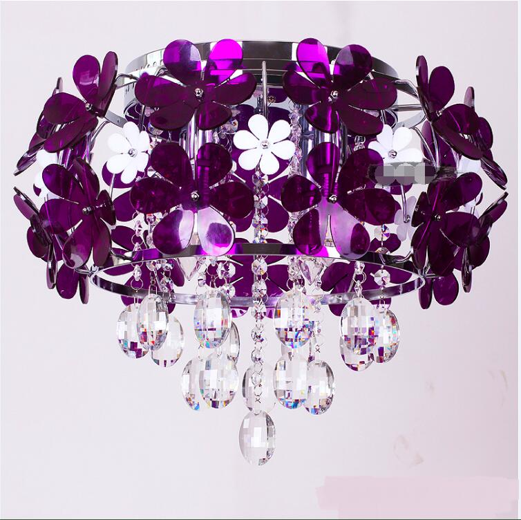 Romantic purple flower bedroom crystal Pendant Lights LED living room modern simple restaurant hall aisle lamps ZL369T1010 a1 master bedroom living room lamp crystal pendant lights dining room lamp european style dual use fashion pendant lamps
