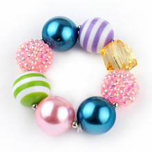 2016 New Fancy Dress Match Hand Bracelet For Girls Bubblegum Kids Jewelry Accessories Beaded Stretch Bangle Birthday Gift WXB1