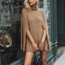 BerryGo вязаный свитер с высоким воротом большого размера, женское пончо верблюжьего цвета, Свободный Повседневный пуловер для женщин, Осенний Теплый черный зимний джемпер