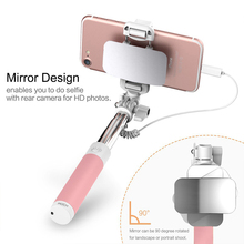 Mirror Wired Selfie Stick Handheld Monopod Selfie sopa bastone selfy stik Vara de selfie for iphone 7 6 6s Plus 5 5s