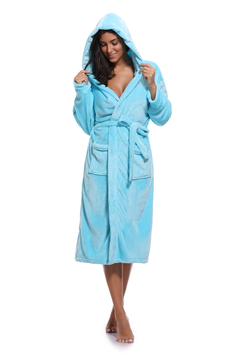 2018 Flannel Robe Warm Female Thick Lounge Bathrobe Long With Hooded ...