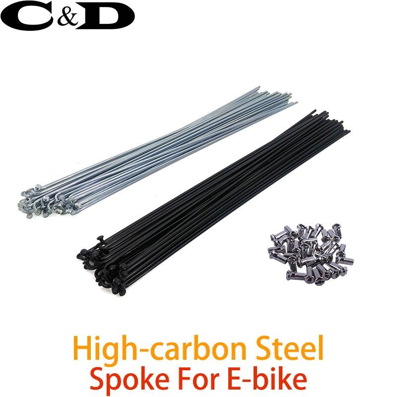 10PCS 14G Bike Bicycle Spokes Nipples 170~286mm Stainless Steel Spoke Sliver HI