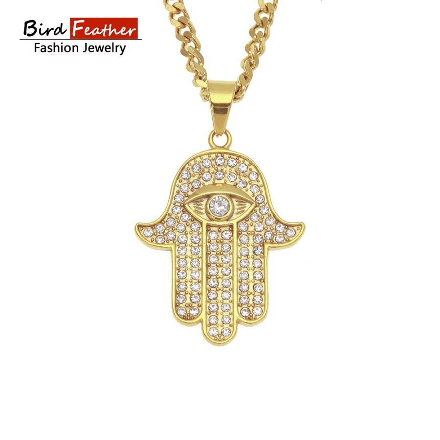 Golden Color Stainless Steel Necklace For Men Women Hamsa