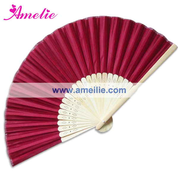 50Piece Lot Wholesale Wine Red Color Silk Hand Fan For Party Decoration 21CM Personalized Wedding