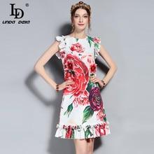 LD LINDA DELLA Новый 2018 мода взлетно-посадочной полосы летнее платье Для женщин без рукавов жилет оборками пион цветочные печатных Аппликации Элегантное платье