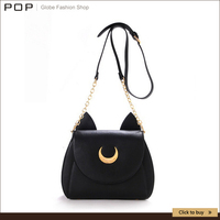 2015 Samantha Vega Sailor Moon Women Handbag Black White Cat Shape Luna Moon Leather Women Shoulder