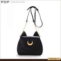 2015 Samantha Vega Sailor Moon Women Handbag Black White Cat Shape Luna Moon Leather Women Shoulder