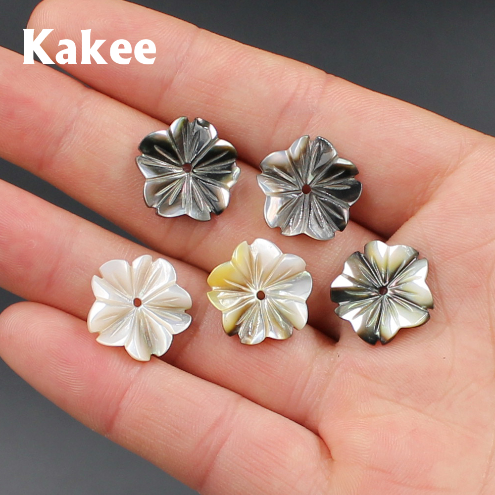 Kakee Natural Mother of Pearl Black Carved Flower Charms Shell Beads for Jewelry Making DIY Fashion