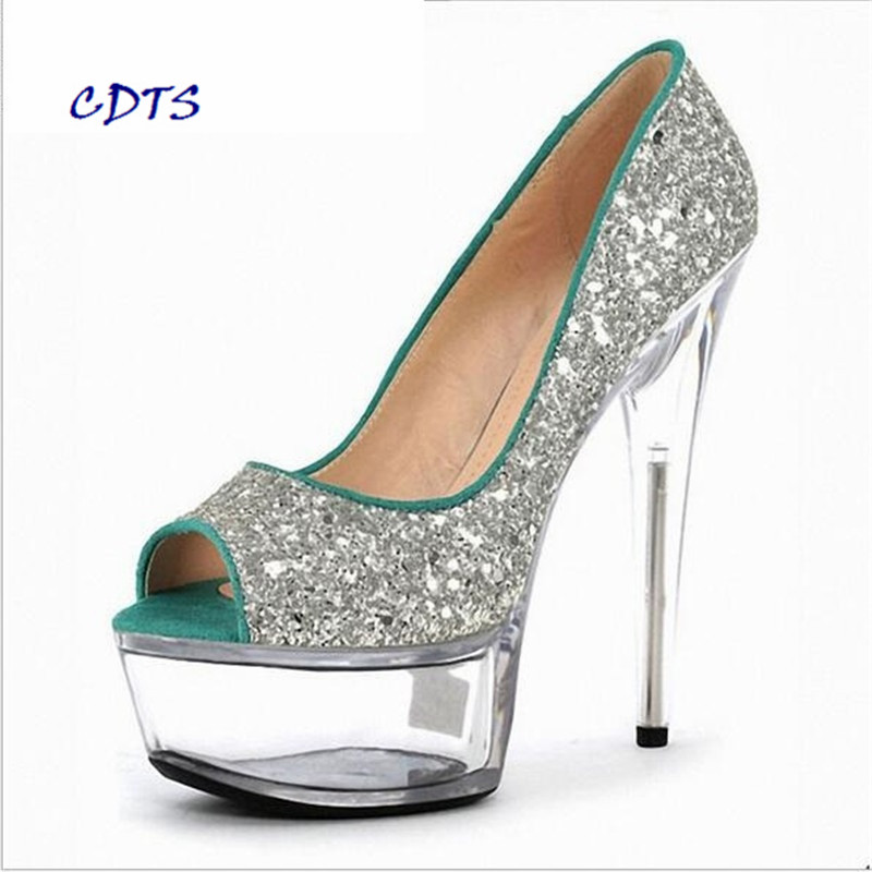 CDTS Plus:35-45 46 spring/autumn Glitter zapatos mujer Peep Toe 17cm thin heels Crystal platform shoes woman wedding pumps cdts plus 35 45 46 2016 spring summer 20cm ladies open toe ruffles thin high heels platform party pumps woman wedding shoes