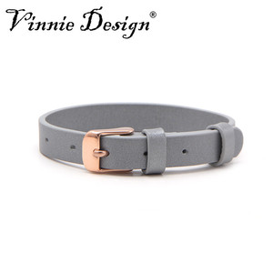 Image 3 - Vinnie Design Jewelry Genuine Leather Wrap Bracelets with Rose Gold Buckle for Keeper Slide Charms Multicolor 10pcs/lot