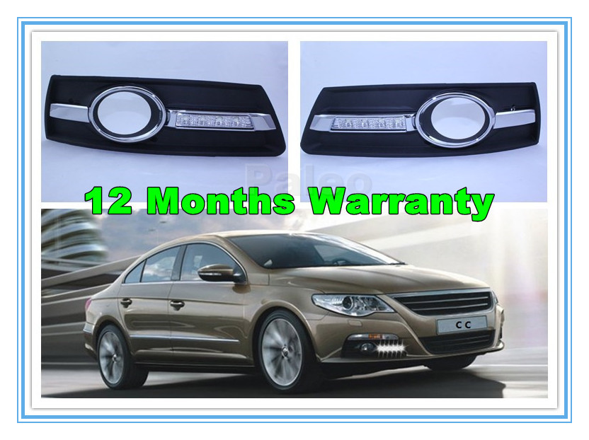 ФОТО 2PCS Free Shipping For VW Passat CC 2009 2010 2011 2012 Pair of  Car 4 LED DRL Daytime Running Light Waterproof With Wire Harnes