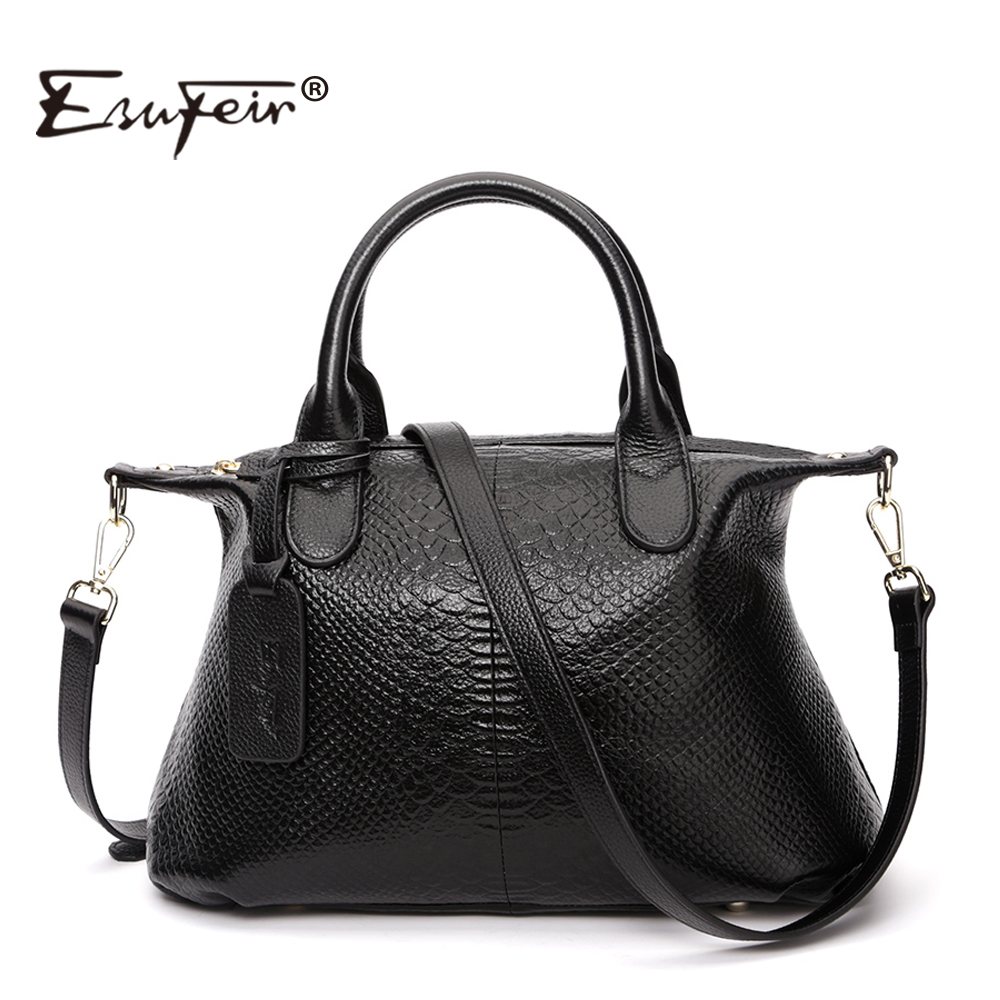 ESUFEIR Brand Genuine Leather Women Handbag Fashion Designer Serpentine Cowhide Shoulder Bag Women Crossbody Bag Ladies Tote Bag esufeir brand genuine leather women handbag fashion designer serpentine cowhide shoulder bag women crossbody bag ladies tote bag